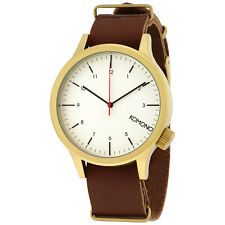 Komono Magnus Saddle White Dial Brown Leather Mens Watch KOM-W1931