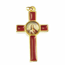 Catholic Sacred Heart of Jesus cross in red gold tone metal finish 3.6cm