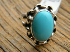 ring blue turquoise size 9 Sterling silver Navajo signed ladies