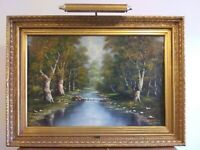 "Vintage Mid Century Painting,Turner Mfg. Co. ""Woodland Stream"" by P. Marion,VGC"