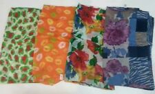 4 PACK BRIGHT WOVEN ASSORTED PRINT SCARFS SHAWLS NWOT