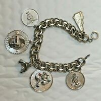 """Vtg heavy Solid Sterling Silver 6 CHARM DOUBLE CHAIN 7.5 in. """" 925 BRACELET 41g"""