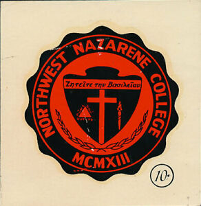 Northwest Nazarene College _RARE_ ORIG 1950's Decal vtg College Seal Crusaders