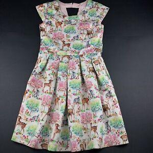 Girls size 9, Tutus & Tambourines, soft feel stretchy party dress, woodland, EUC