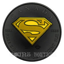 SUPEMAN SHIELD 1oz silver coin ruthenium and gold plated 2016