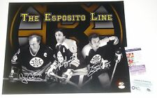 Bruins Esposito Line Phil Esposito Cashman Hodge Signed 16x20 Photo JSA CERT