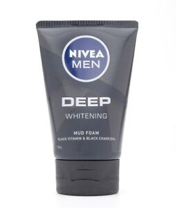 100g NIVEA MEN DEEP WHITENING MUD FACIAL FOAM BLACK VITAMIN & BLACK CHARCOAL