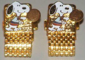 Vintage Peanuts Snoopy Playing Tennis Enameled Goldtone Cufflinks