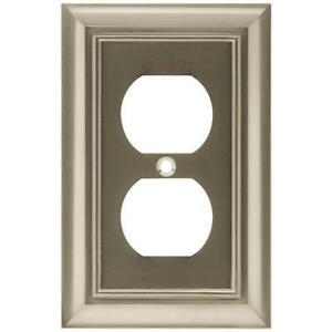W35218-SN  Satin NIckel Architect Single Duplex Outlet Cover Plate