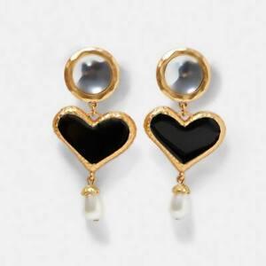 Statement Pearl Black Heart Earrings. Gold Plated Fashion Zara Drop Style Studs