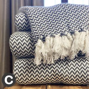 Luxury 100% Cotton Charcoal Grey White Herringbone Large Sofa Bed Throw Blanket