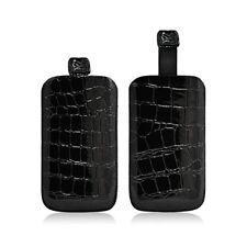 Housse Coque Etui Pochette Style Croco Couleur Noir pour Nokia 108 Dual Sim