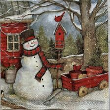 TWO Individual Cocktail Decoupage Fall Winter Christmas Napkins Snowman