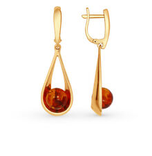 NEW Russian Earrings amber Rose gold plated Silver 5.87g SOKOLOV fine jewelry