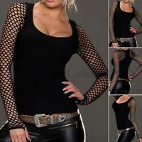 Sexy Femme Chemise Ajustement mince Manche Longue Creux Col Rond Shirt Tops Plus