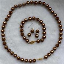 8mm Chocolate Sea Shell Pearl Necklace18''&Bracelets7.5'' Earring Set JN226