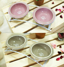 Cute Luxury Pet Food Bowl Feeder Dish 3pc Set for Dogs&Cats Pink&Taupe