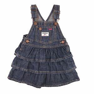 Oshkosh B'gosh Denim Blue Ruffle Vestbak Overall Jumper Dress Size 18 Months