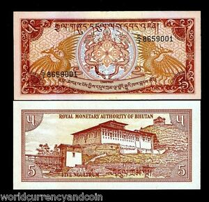BHUTAN 5 NGULTRUM P14 1985 x 100 Pcs Lot Full BUNDLE DRAGON DZONG UNC MONEY NOTE