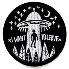 Alien Sci-fi Iron Sew on Patch Applique Badge Motif Science Fiction UFO Space