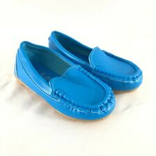 Ahcityah Toddler Boys Loafers Moccasins Slip On Faux Leather Blue Size 27 US 10