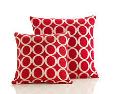 "- Set of 2 X 18"" SQ Oh Retro Circle Red Chenille Cushion Cover (6)"