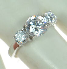 Solid 925 Sterling Silver Round Cut CZ 3-Stone Engagement Ring Size-7 '