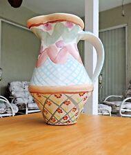 "Mackenzie Childs 1983 Hand painted pitcher "" Heather"""