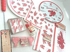 Lobster Bake How to Eat Party Serving Tray Chef Hat Apron Plate Holders 9 pc Lot