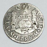 MEXICO SPANISH COLONY, 1758, 2 REALES, KM #86.2