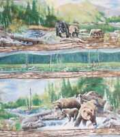 Bear Mountain bears wildlife stripe Wilmington fabric