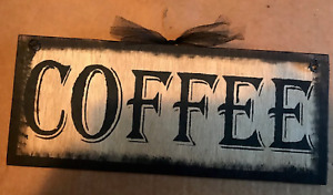 COFFEE latte tea cappuccino country kitchen wood wall art home decor sign 4x12""