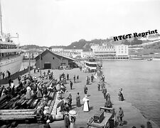 Historical Photograph of Arnold's Dock in Mackinac Michigan 1908c 8x10