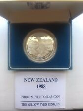 New Zealand 1988 Yellow Eyed Penguin Dollar Silver Coin Proof in Box