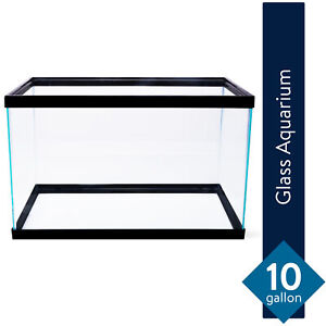 10 Gallon Aquarium Fish Tank Clear Glass Terrarium Pet Aqua Reptiles Goldfish
