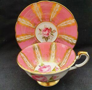 💕Stunning Rare Vintage Paragon Pedestal Teacup & Saucer Tea Cup Pink Gold💕