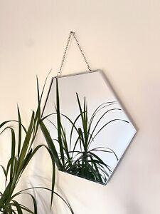 Hexagon Silver Wall Mirror Decor Bohemian Geometric Shaped (single) Home Mirror