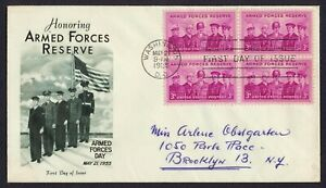 #1067 3c Armed Forces Reserve-Block of 4, Fleetwood FDC ANY 5=