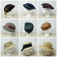Lot of 9 Vintage Women's Millinery Hats Wool, Felt, Velvet, Feather, and Straw