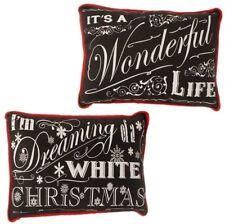 "RAZ Imports 15"" Dreaming Wonderful Life Christmas Pillows Black White Set/2  NEW"