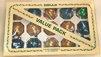 """15 Vintage 2 1/4"""" Christmas Ornaments Holly Assorted Glass Ball USA EUC"""