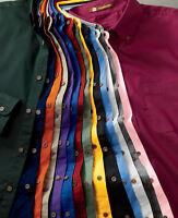 Harriton Men's 100% Cotton Long-Sleeve Teflon Coated Oxford Twill Shirt S-6XL