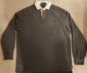 Men's Pre-Owned Polo Iconic Rugby Long Sleeve Sweater Shirt Gray Ralph Lauren