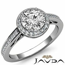 2ct Round Halo Diamond Engagement Beautiful Filigree Ring GIA F VS2 Platinum