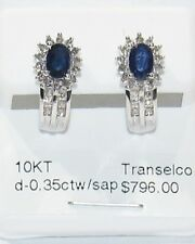 GORGEOUS SAPPHIRE DIAMOND-WHITE GOLD STUD EARRINGS- ESTATE SALE- CLEARANCE SALE