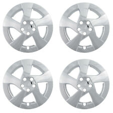"4 Pc Set TOYOTA PRIUS Steel Wheel Snap On CHROME 15"" Hub Cap 5 Spoke Skin Covers"