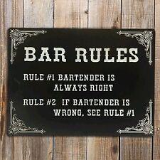 BAR RULES Funny Text Print On Metal Sign Bar Garage Den Bedroom Gift Plaque
