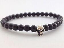 MENS BLACK ONYX Gemstone Sterling Silver 925 Skull Beaded 6mm Stretch Bracelet