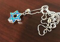 """Jewish Star Of David Pendant Sterling Silver Blue Opal 18"""" Silver Necklace"""
