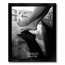 One 8x10 Black Wood  Photo Frame, Clear Glass, with easel backing